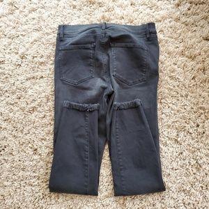 LOFT Washed Black Frayed Hem Modern Skinny Jeans